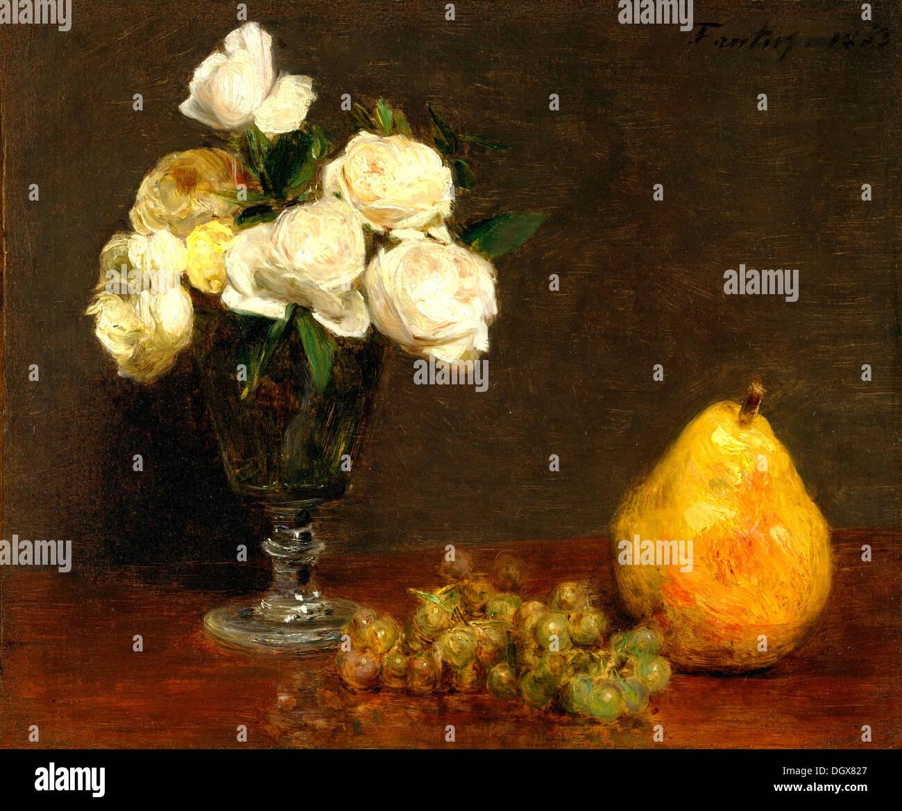 Bodegón con rosas y fruta - por Henri Fantin-Latour, 1863 Imagen De Stock