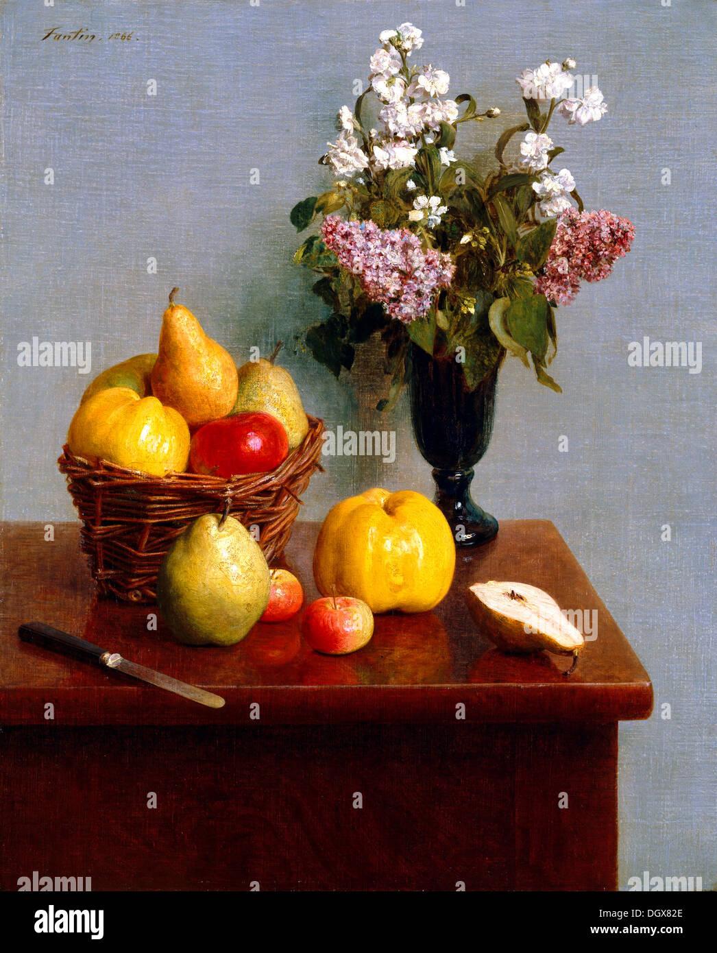 Bodegón con flores y frutas - por Henri Fantin-Latour, 1866 Imagen De Stock