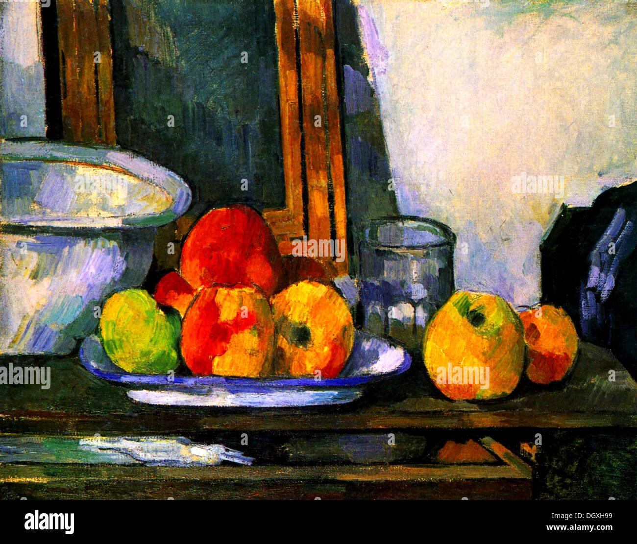 Bodegón con un cajón abierto - por Paul Cézanne, 1879 Imagen De Stock
