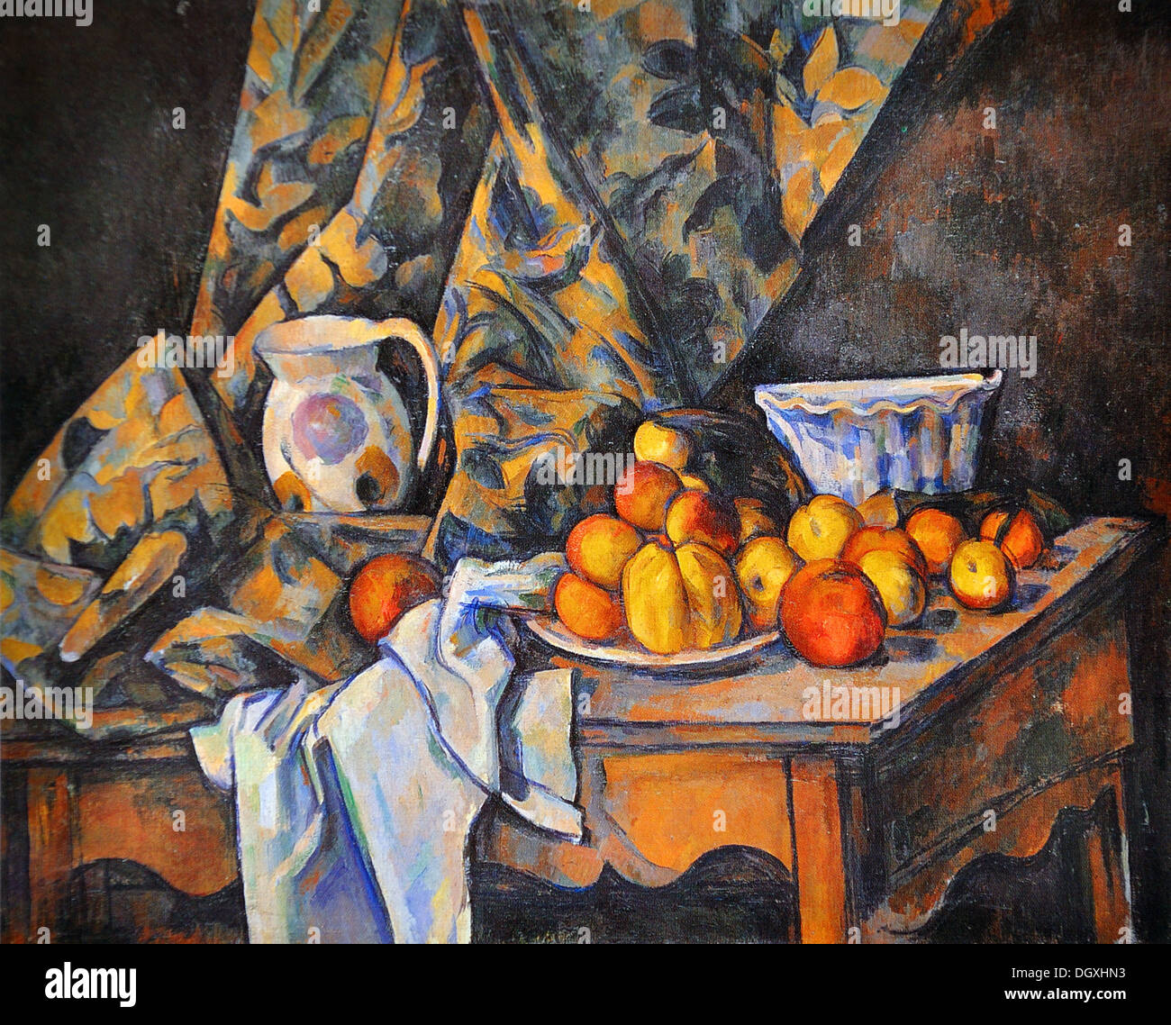 Bodegón con manzanas y melocotones - por Paul Cézanne, 1905 Imagen De Stock