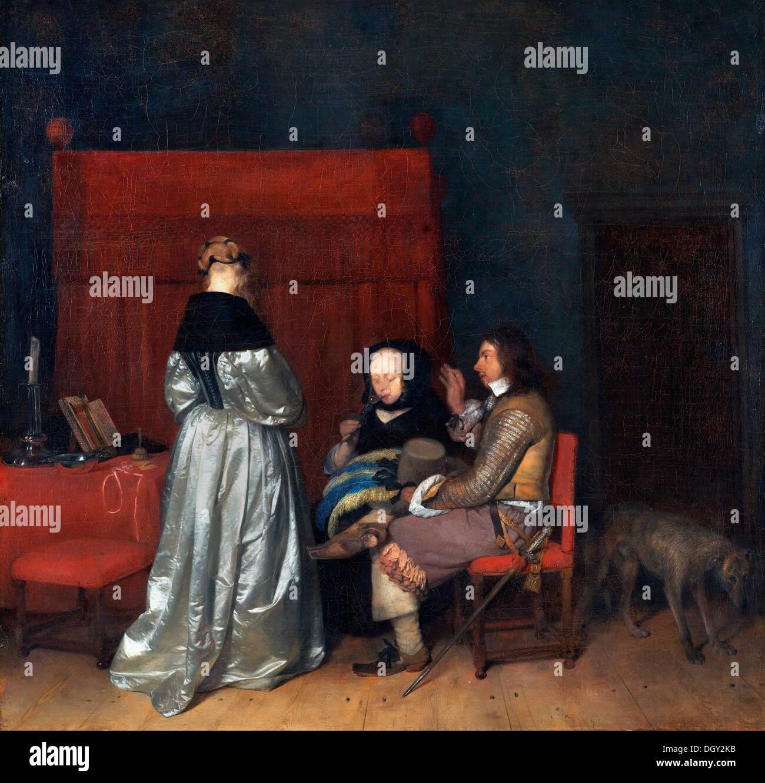 Gerard Ter Borch, la paterna admonición. Circa 1653-1655. Óleo sobre lienzo. Rijksmuseum, Amsterdam. Imagen De Stock