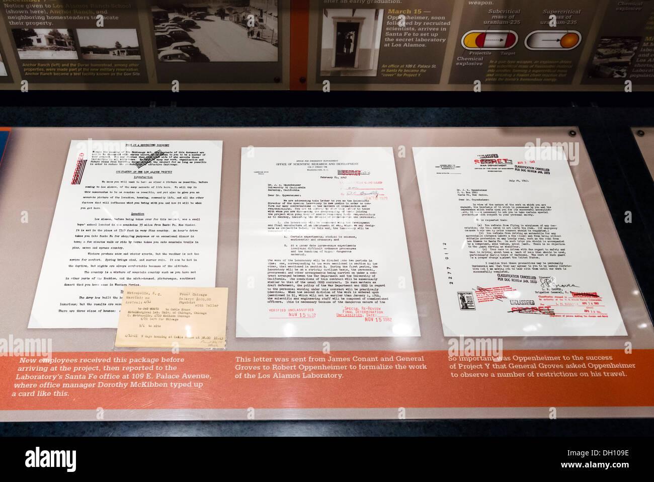 Cartas de Oppenheimer Original conectada al Proyecto Manhattan, Bradbury Science Museum, Los Alamos, Nuevo México, EE.UU. Imagen De Stock