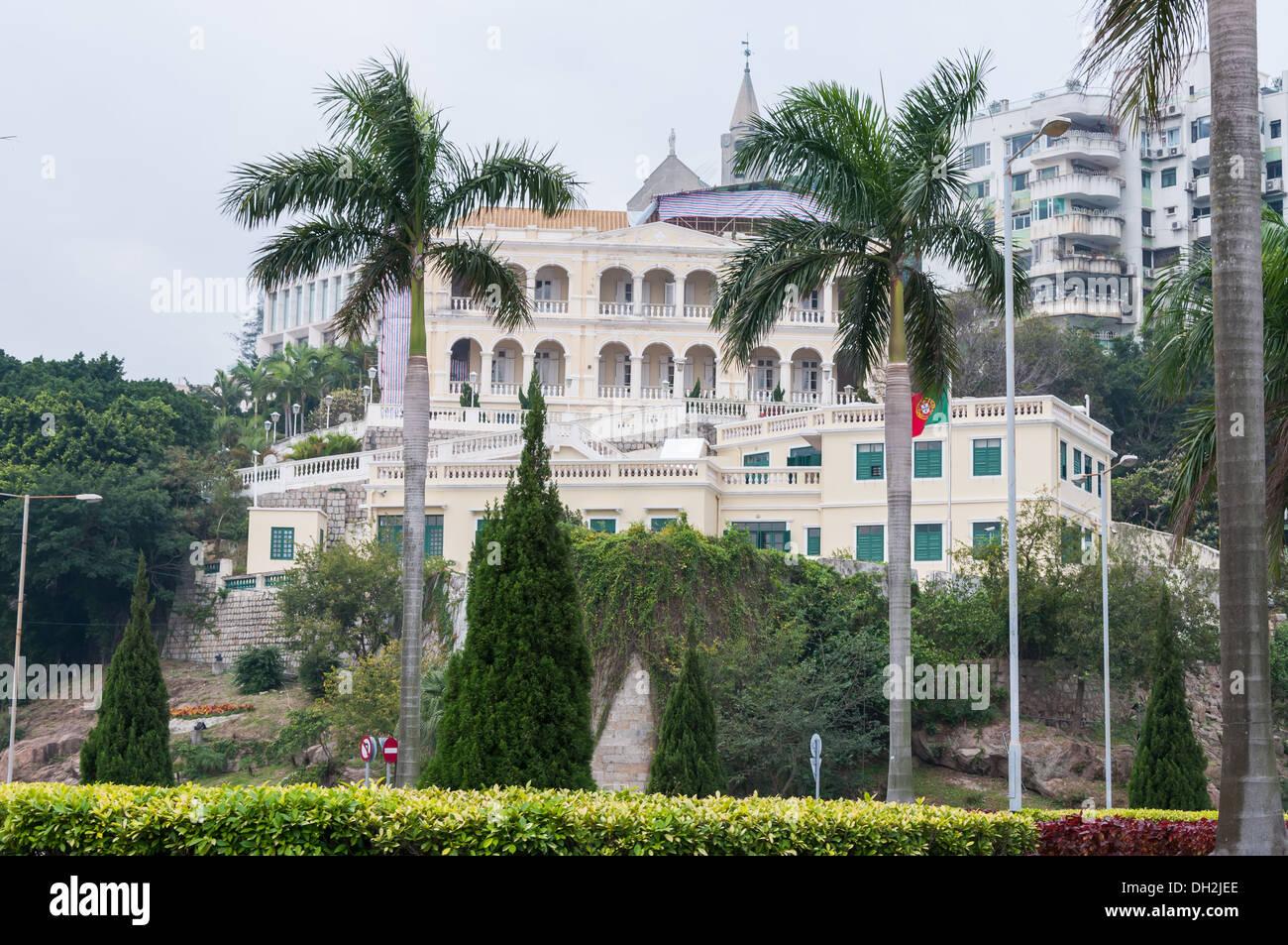 Arquitectura portuguesa en Macao, China. Imagen De Stock