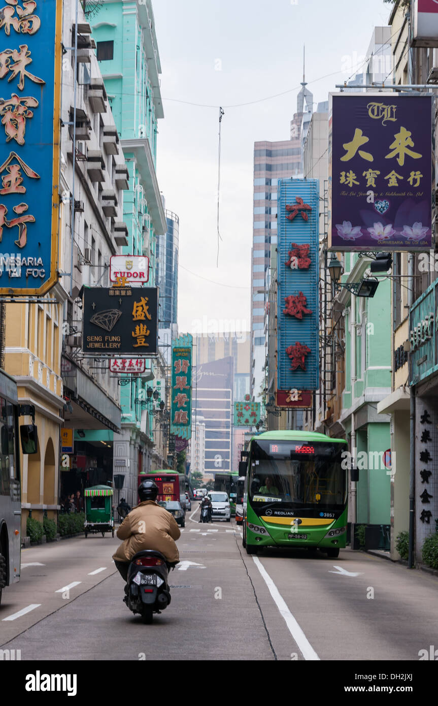 Las calles y edificios de Macao, China. Imagen De Stock