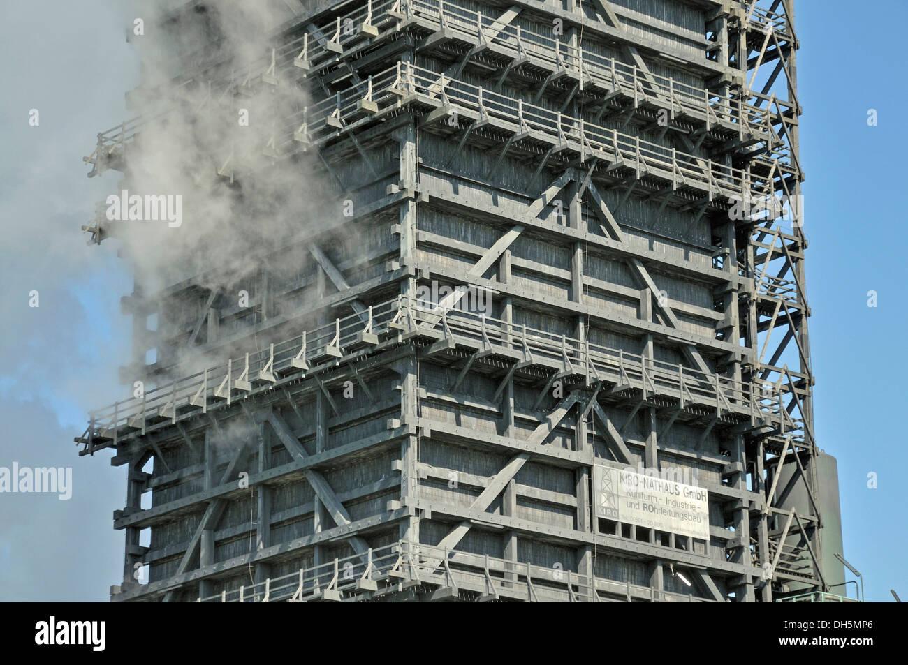 Torre de enfriamiento húmedo sur, proyecto Kokerei Schwelgern, planta de coquización, ThyssenKrupp Steel Works en Hamborn, Duisburg Imagen De Stock