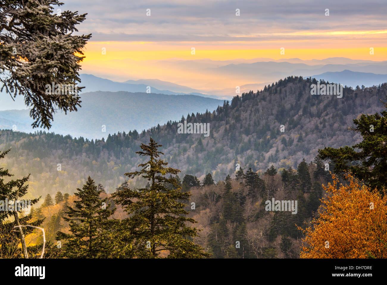 Mañana de otoño en el Parque Nacional de las Montañas Humeantes. Imagen De Stock