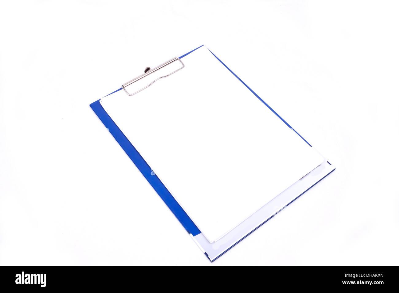 El bloc de notas en blanco aislado en blanco Foto de stock