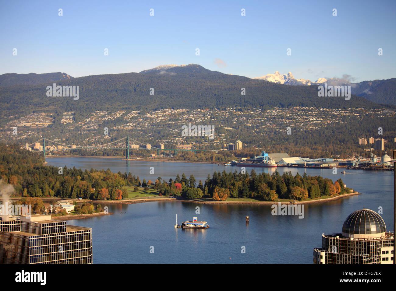 Canadá, Vancouver, Burrard Inlet, el Coal Harbour, al norte de Vancouver, Imagen De Stock
