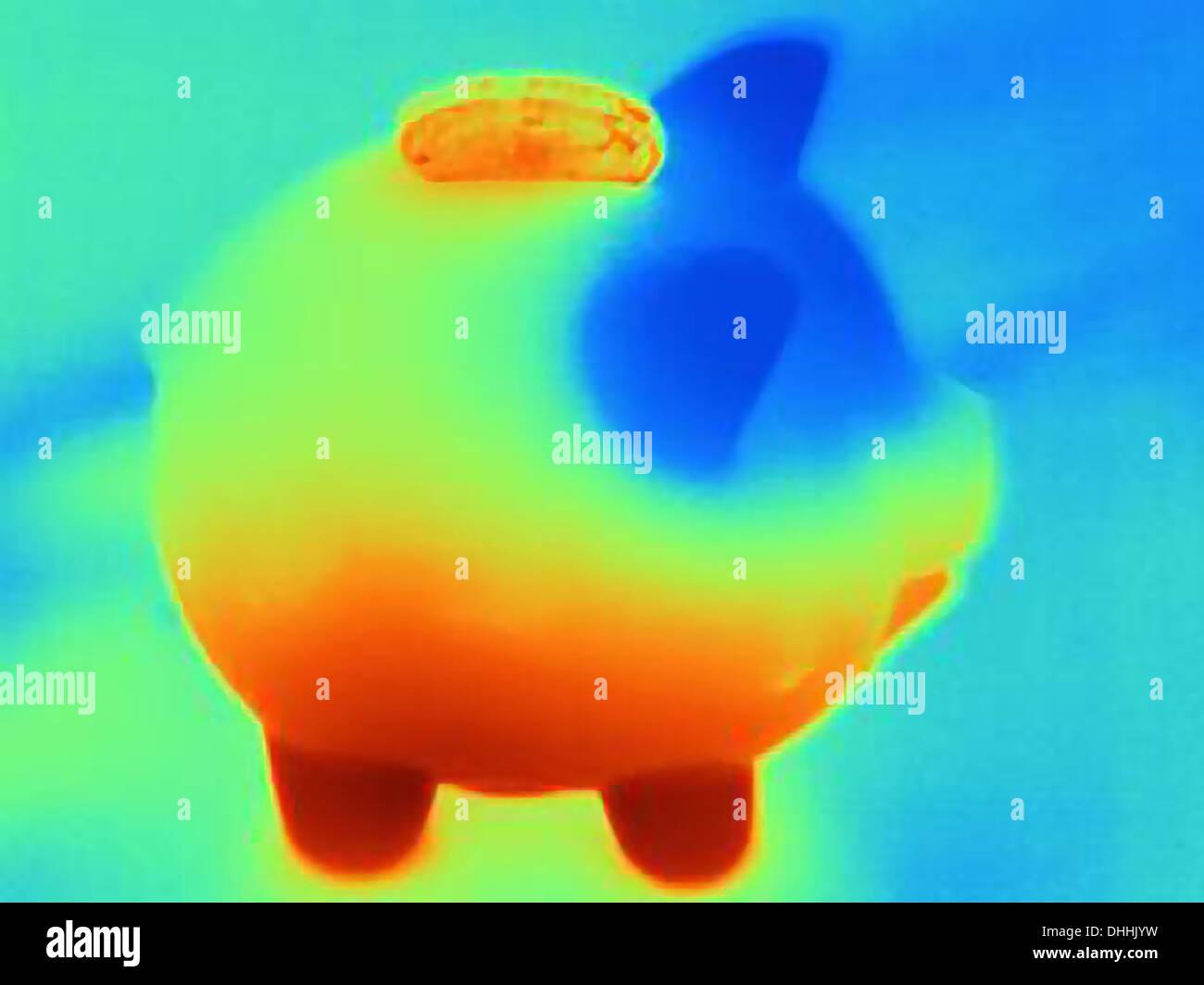 Fotografía térmica de hucha con coin Imagen De Stock