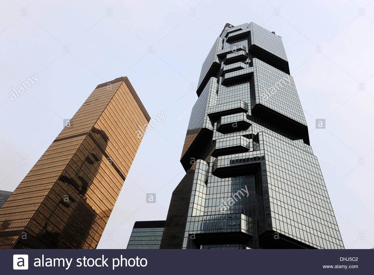 Dos torres, el Lejano Oriente y el Centro de Finanzas de Lippo Center en Chung Wan, Distrito Central, la Isla de Hong Kong, Hong Kong, China, como Imagen De Stock