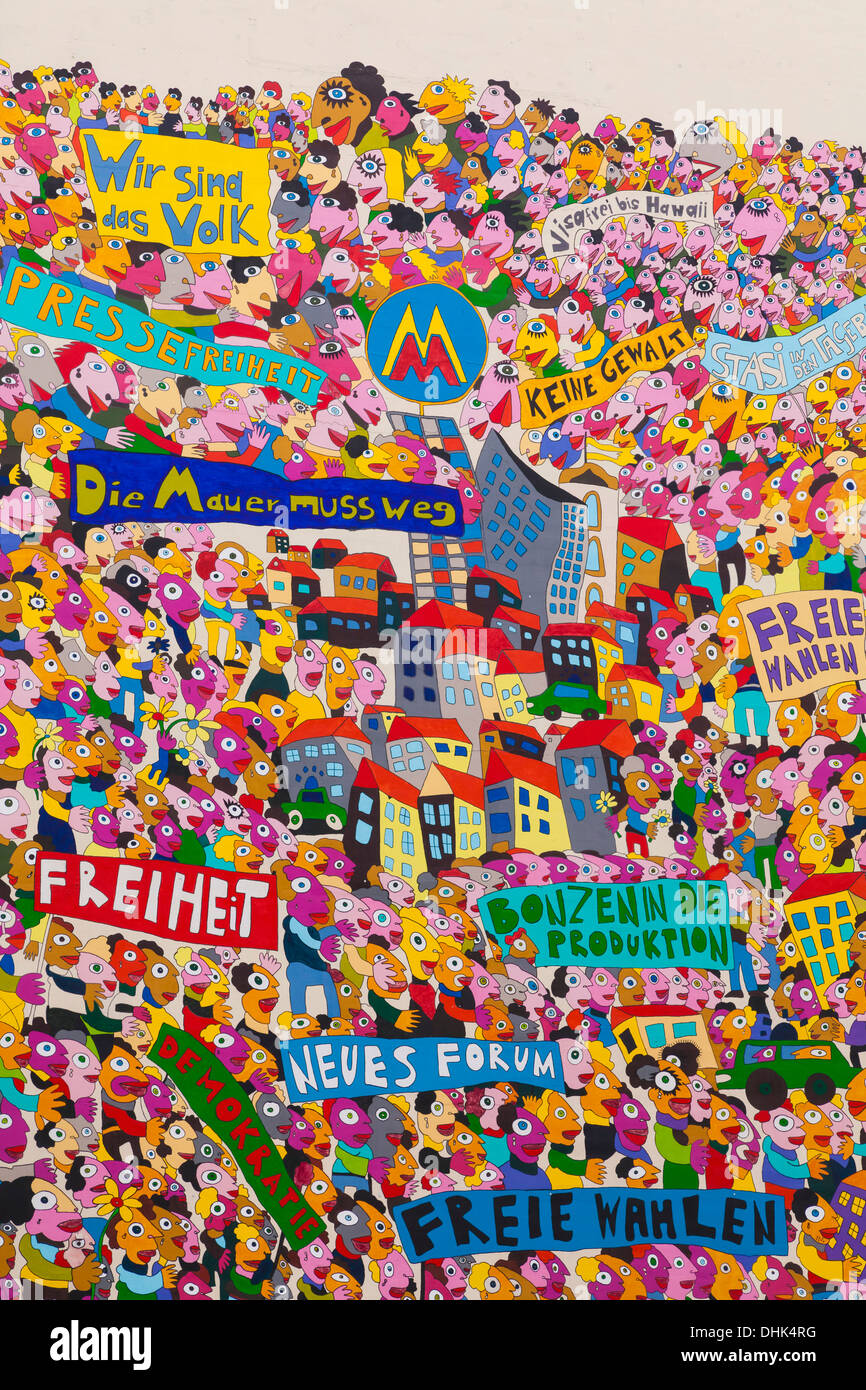 Alemania, en el Estado federado de Sajonia, Leipzig, Graffiti en memoria de la reunificación alemana Imagen De Stock