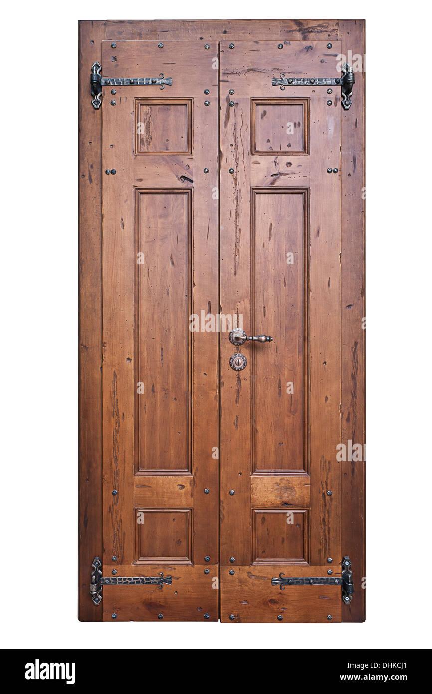 Puerta de madera Vintage aislado en el fondo blanco. Imagen De Stock