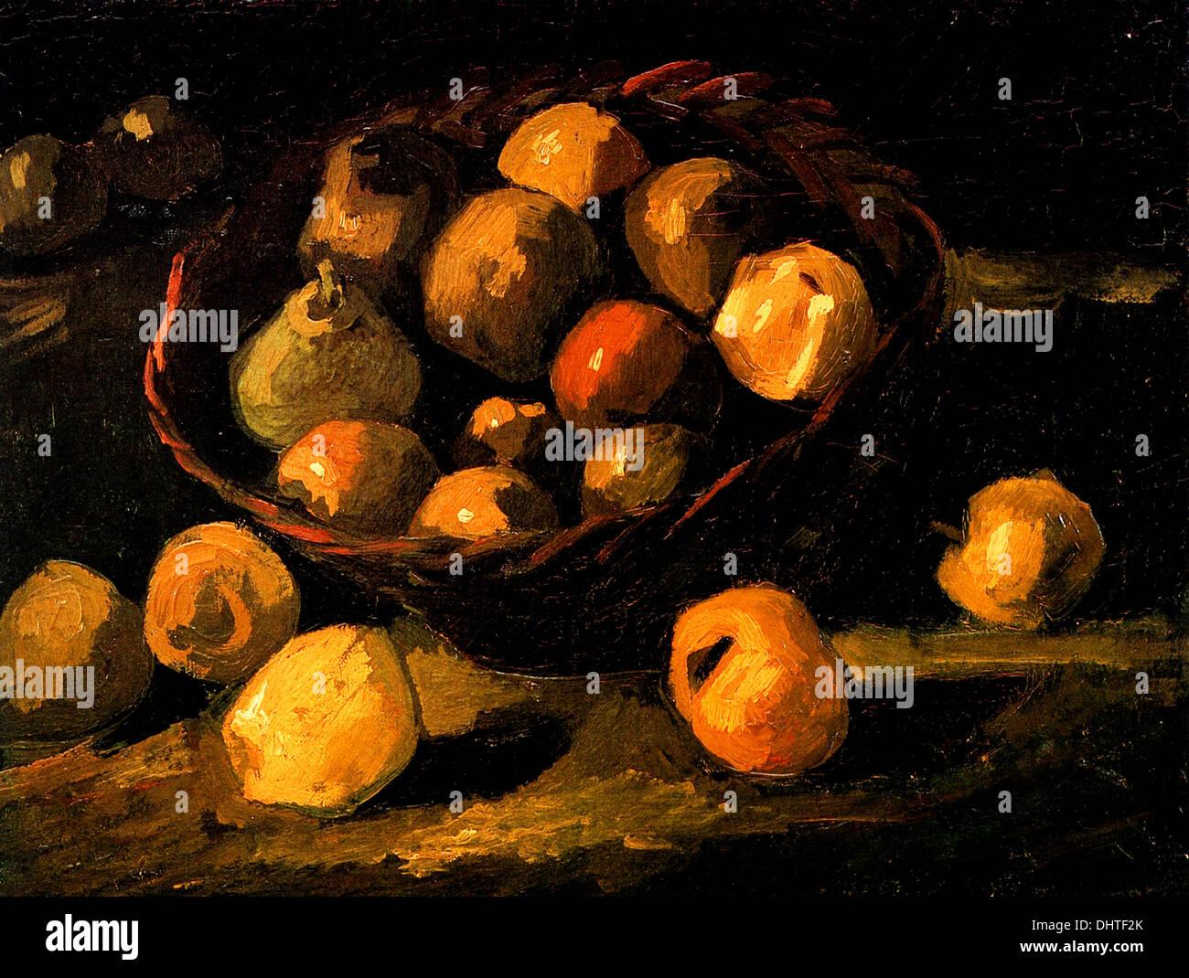 Bodegón con cesta de manzanas - por Vincent van Gogh, 1885 Imagen De Stock