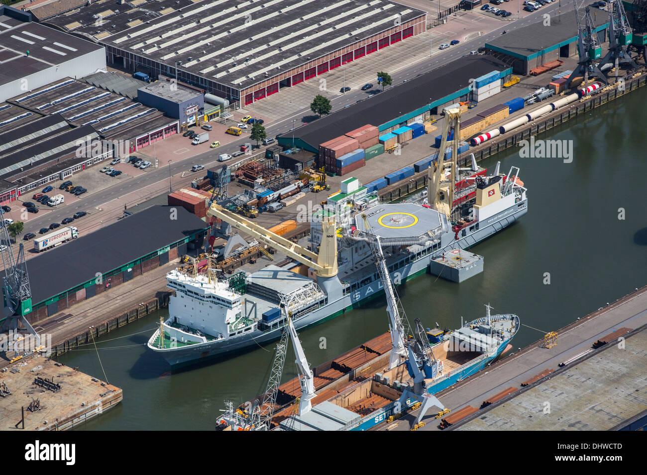 Países Bajos, Rotterdam, el puerto de Rotterdam. Buque de apoyo. Antena Imagen De Stock