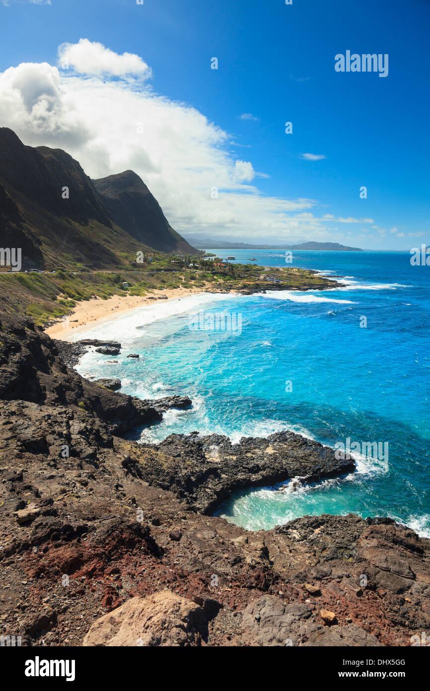 Ee.Uu., Hawai, Oahu, Makapuu Point, la tortuga y el conejo Islas Foto de stock