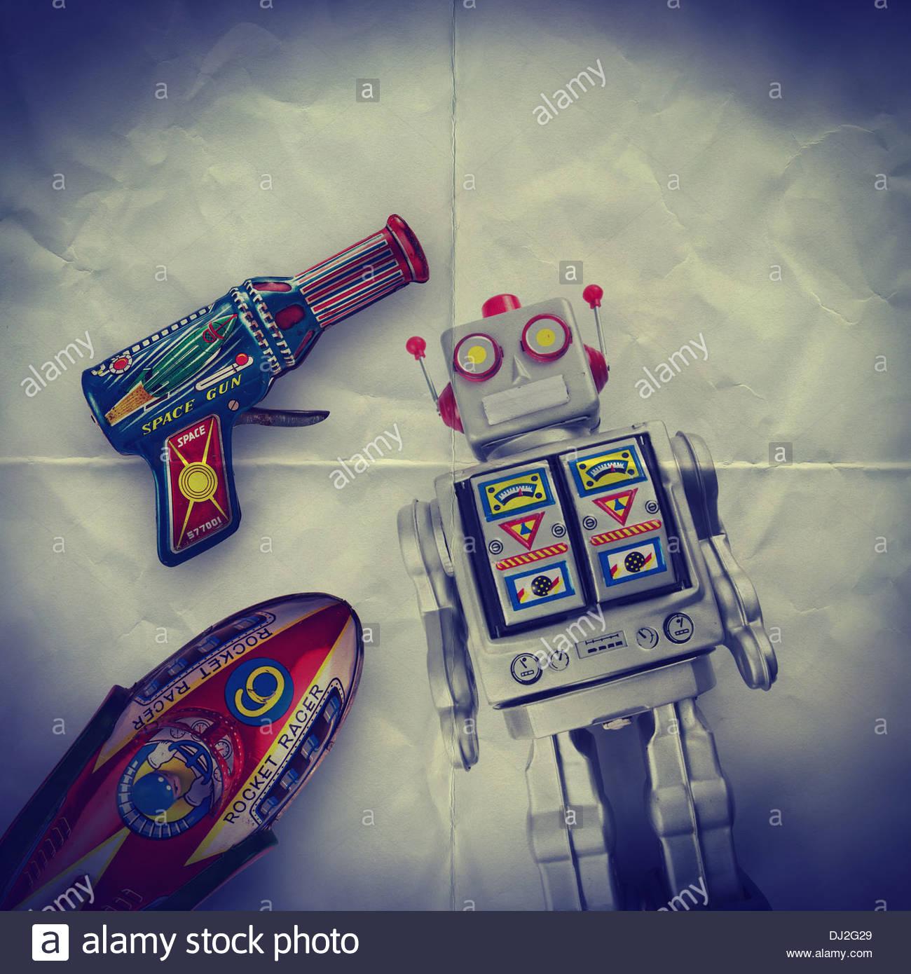 Espacio de papel Juguetes telón de fondo Imagen De Stock