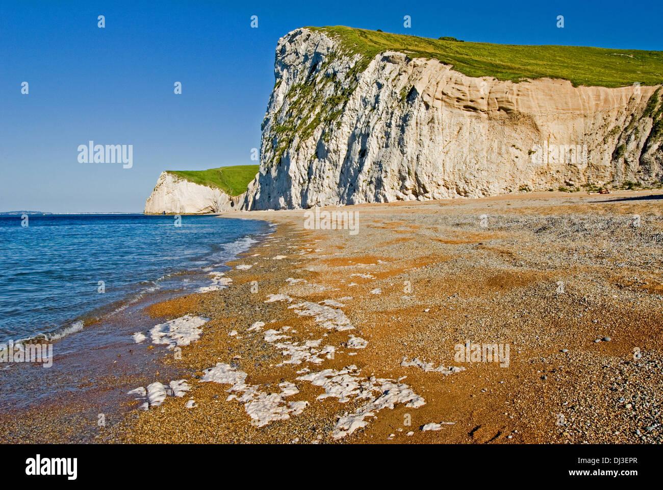 Swyre cabeza sube desde la playa de guijarros, cerca de la puerta de durdle en la costa Jurásica de Dorset. Foto de stock