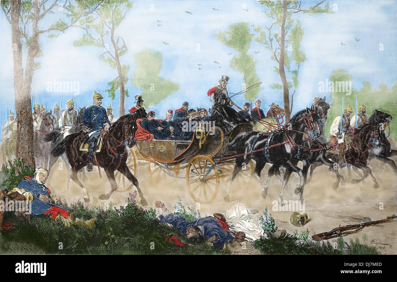 La Guerra Franco Prusiana. Batalla de Sedan. 1 sept. 1870. Captura del emperador Napoleón III. Grabado. Color. Imagen De Stock