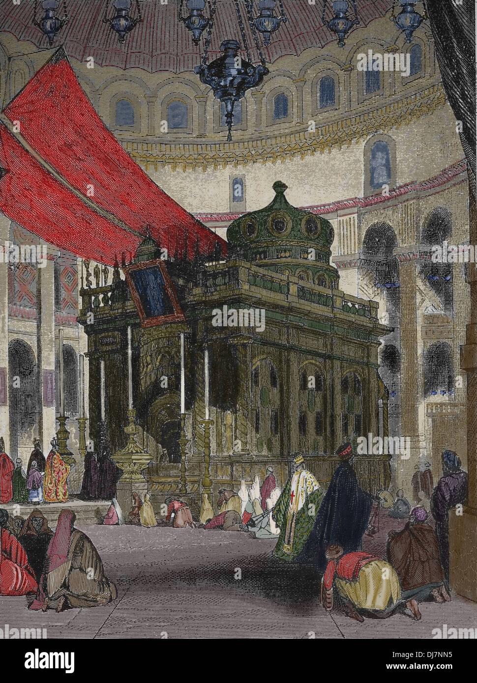La iglesia del Santo Sepulcro en Jerusalén. La Santa Capilla. Grabado. (Más tarde coloración) Imagen De Stock