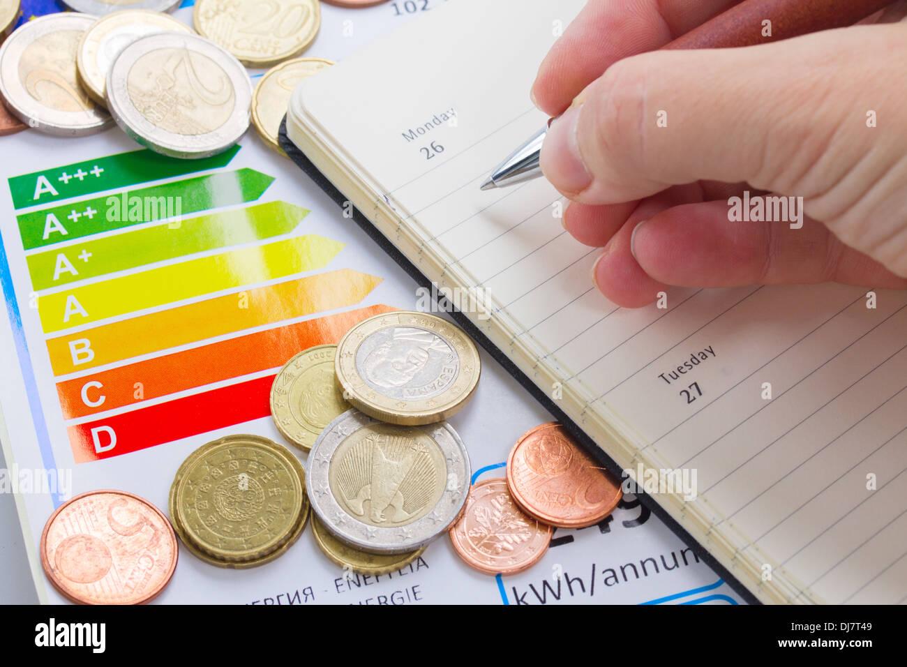 Concepto de eficiencia energética Foto de stock