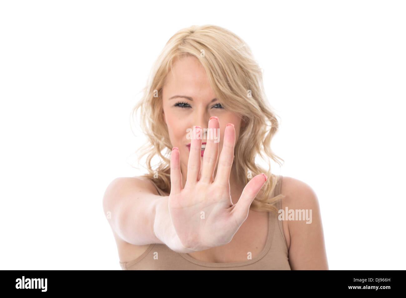 Modelo liberado. atractivo joven levantando la mano Imagen De Stock