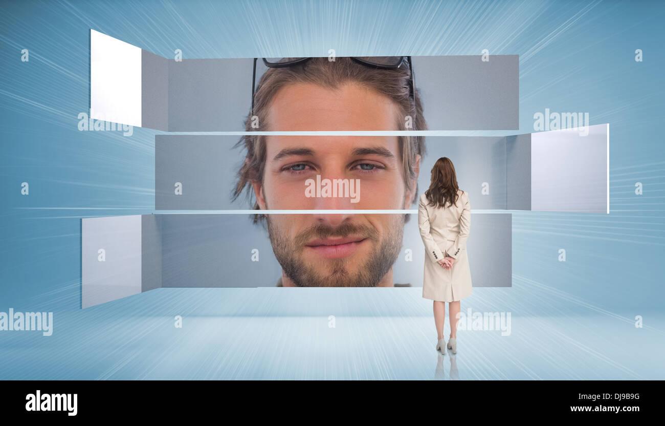 Vista trasera de la empresaria busca a hombre de contenido Imagen De Stock