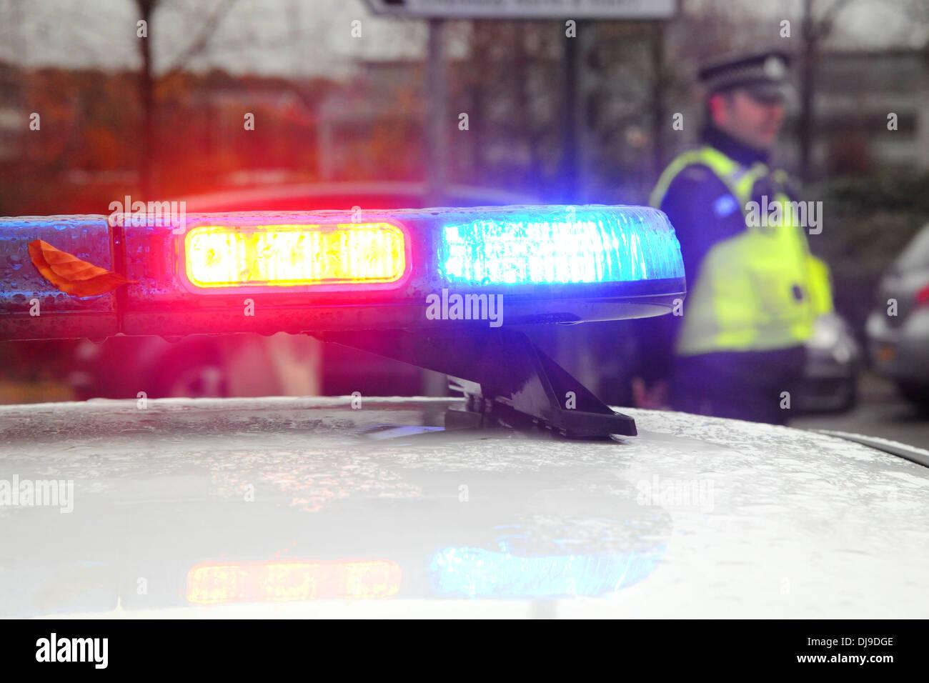 Coche de la policía en un incidente Imagen De Stock