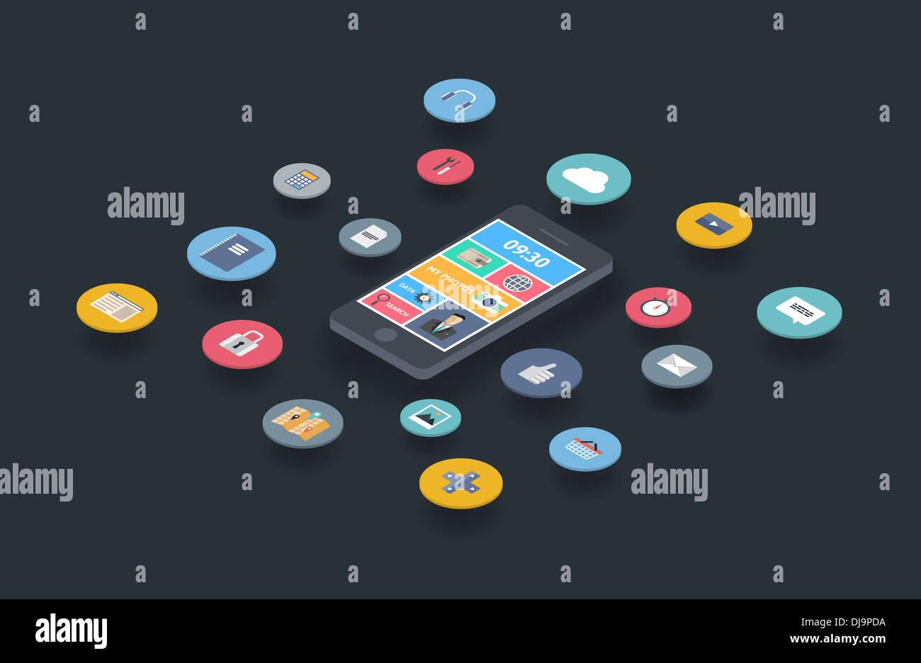 Ilustración de la noción de variedad mediante smartphone multimedia con un montón de iconos y elegante interfaz de usuario móvil en el teléfono Imagen De Stock