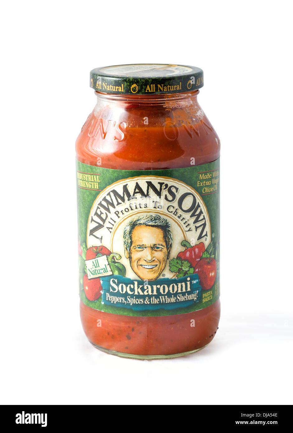 Tarro de Newman la propia Sockarooni salsa para pastas, EE.UU. Imagen De Stock