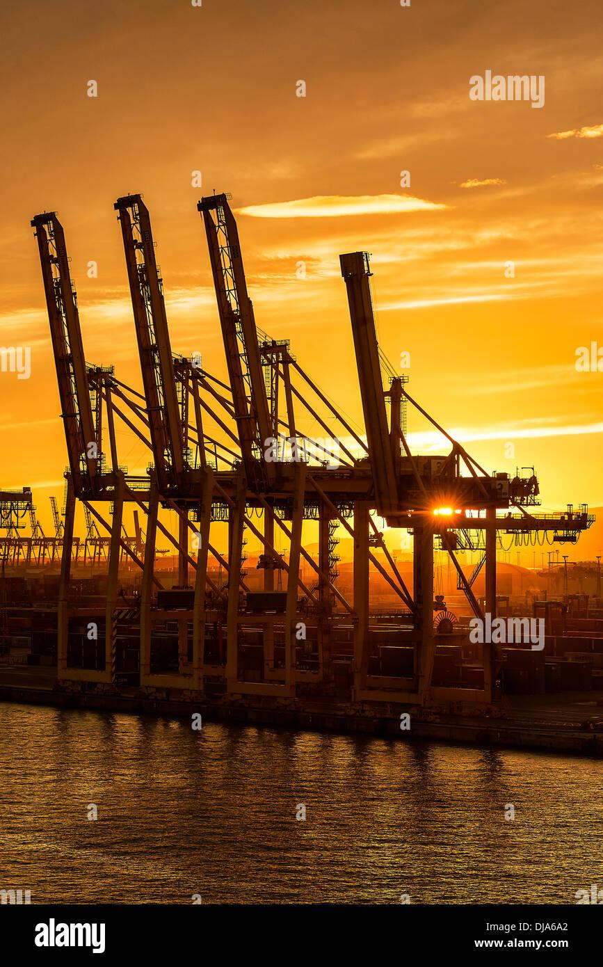 Grúas esperan un carguero de envío de carga con carga, Barcelona, España Imagen De Stock