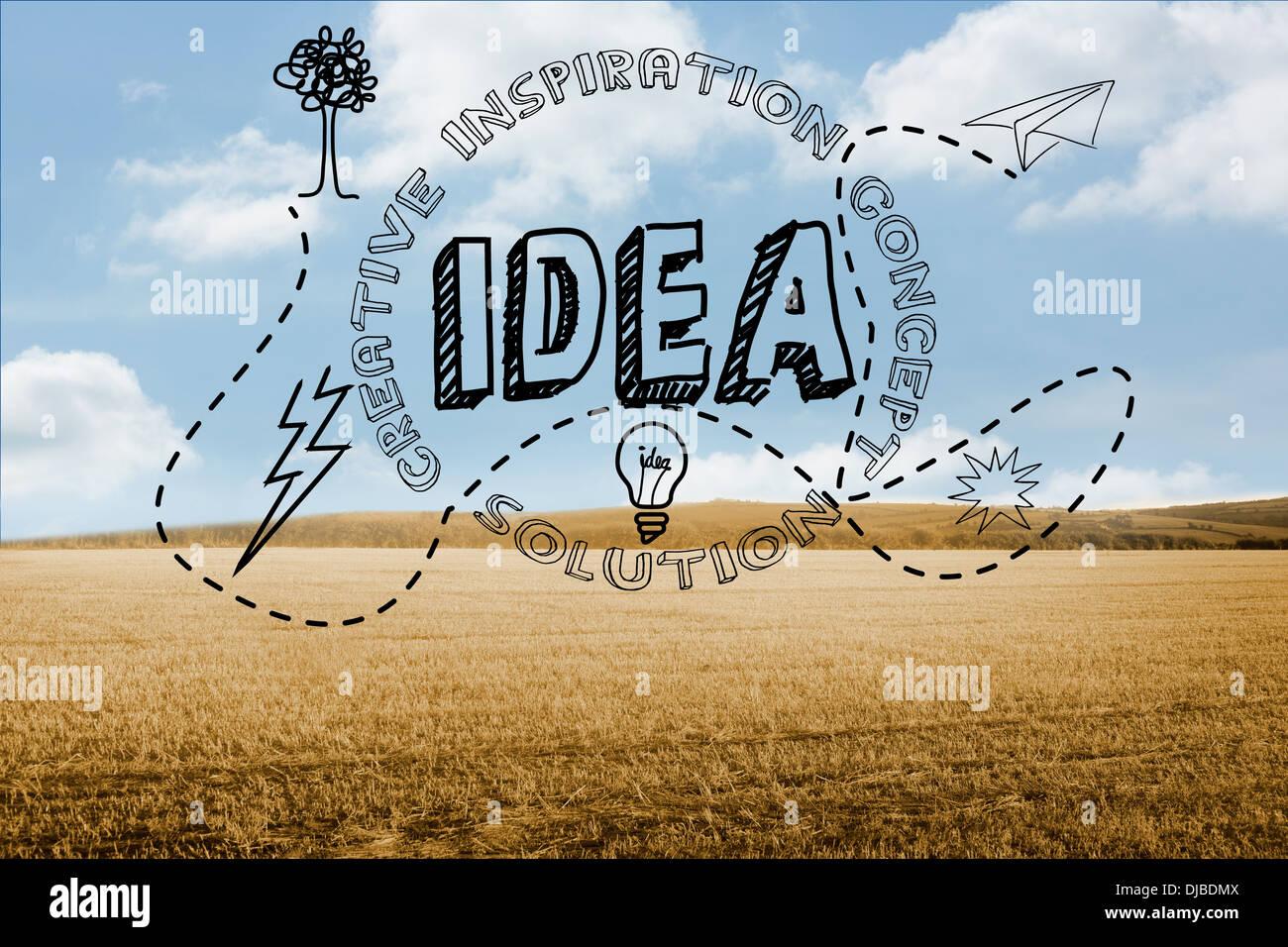 Idea gráfica en campo Imagen De Stock