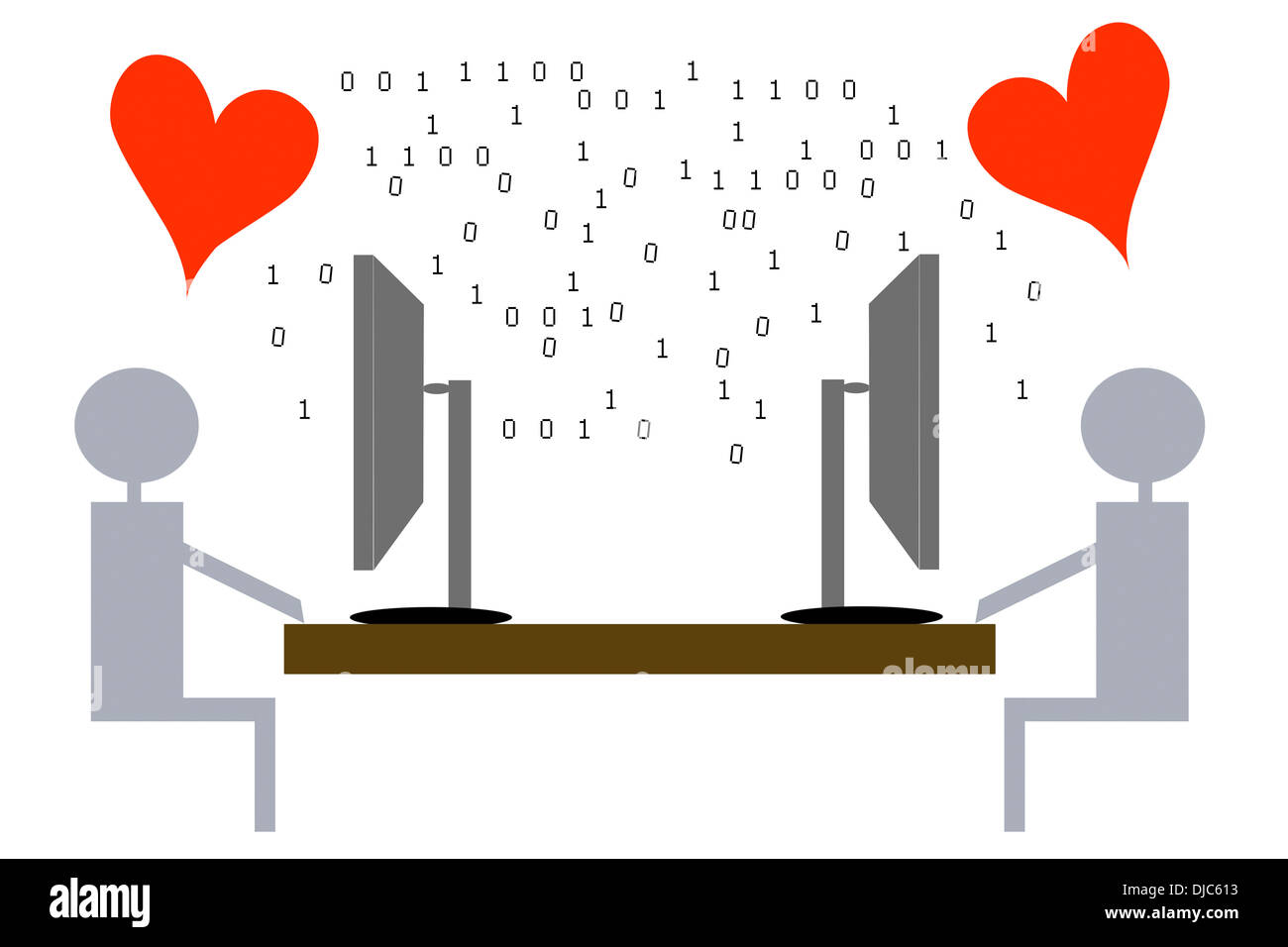 Amor Virtual - Ilustración Foto de stock