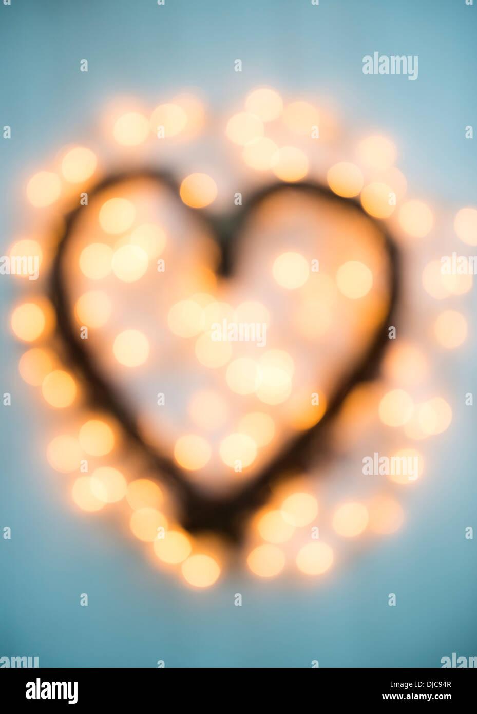 Fuera de foco en forma de corazón decoración de Navidad Imagen De Stock