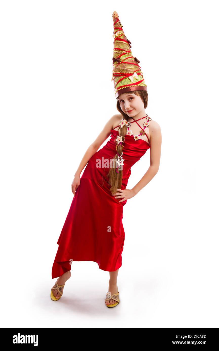 La Chica De Navidad En Un Carnaval Vestido Rojo Foto