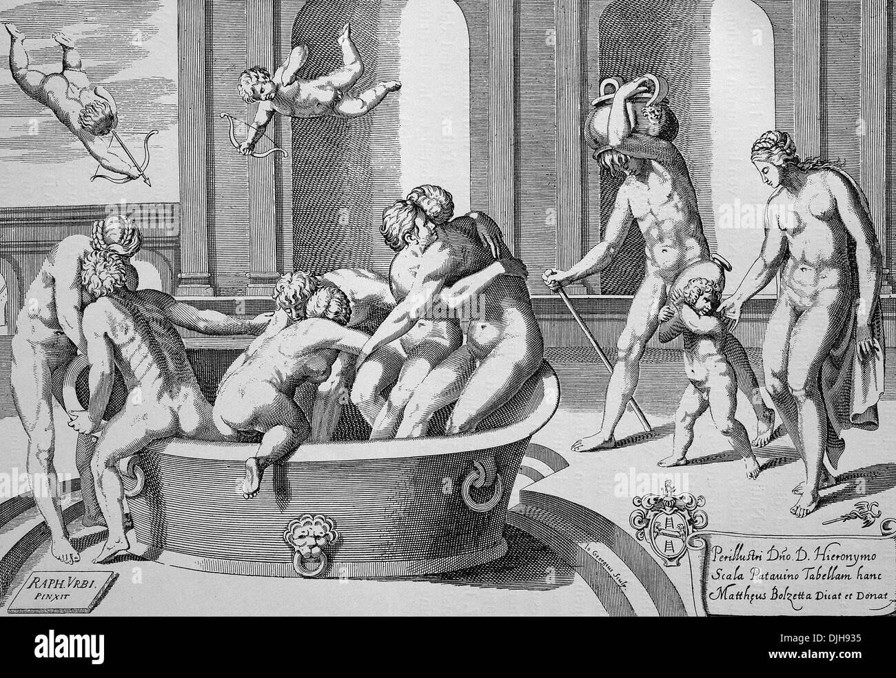 """La mujer y Mens"""" casa de baños, grabado en cobre después de un mural para el baño del Cardenal Bibiena, Vaticano, 1600 Imagen De Stock"""