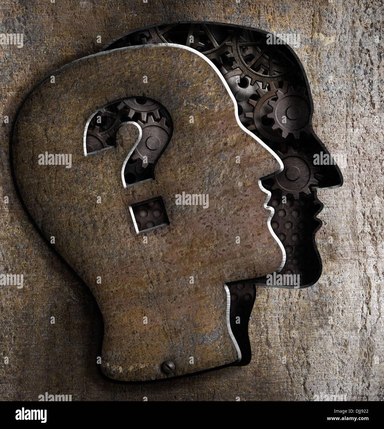 Cerebro Humano abierto con signo de interrogación sobre la tapa metálica Imagen De Stock