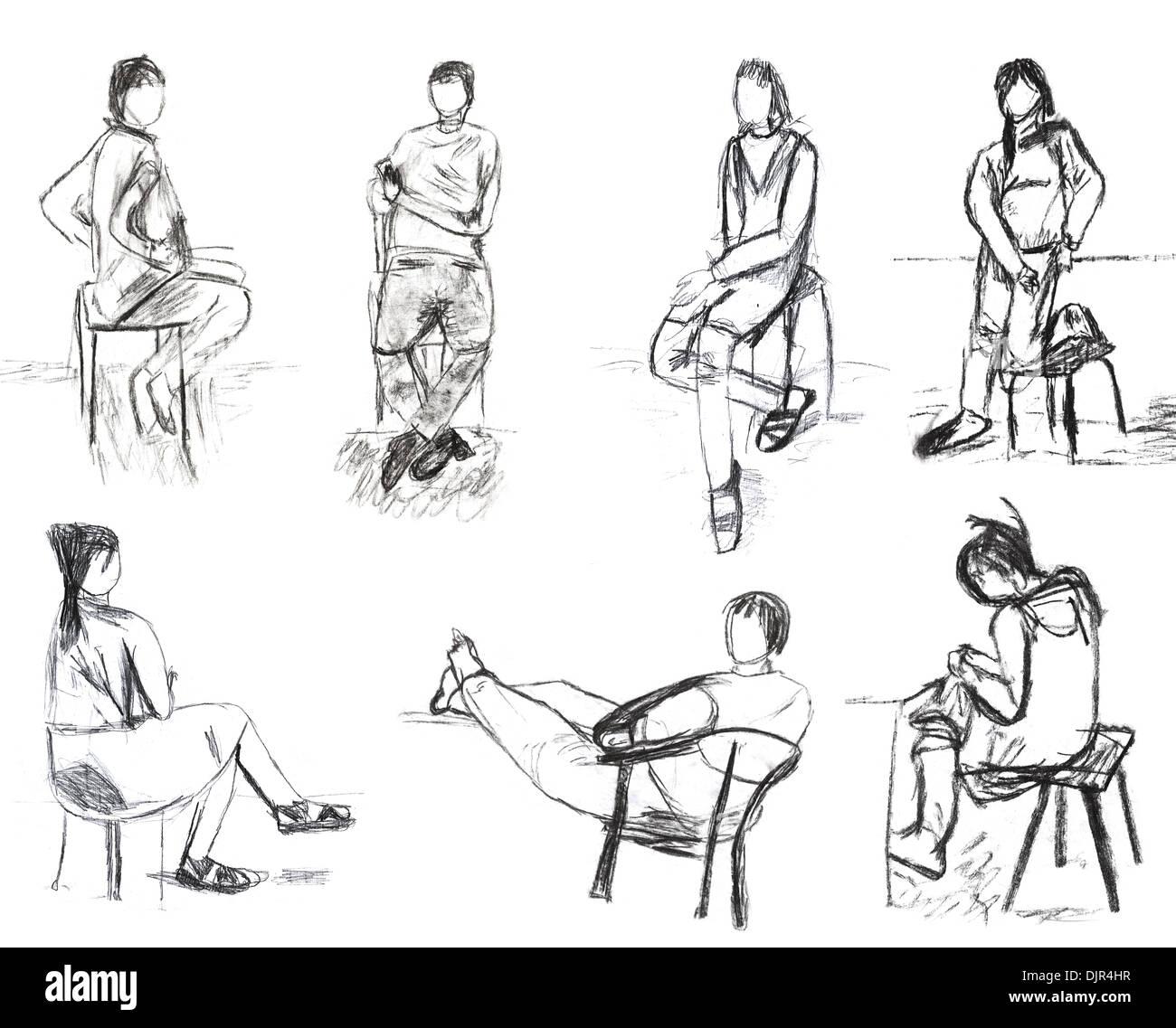 Niños - dibujo bocetos de gente sentada Foto & Imagen De Stock ...