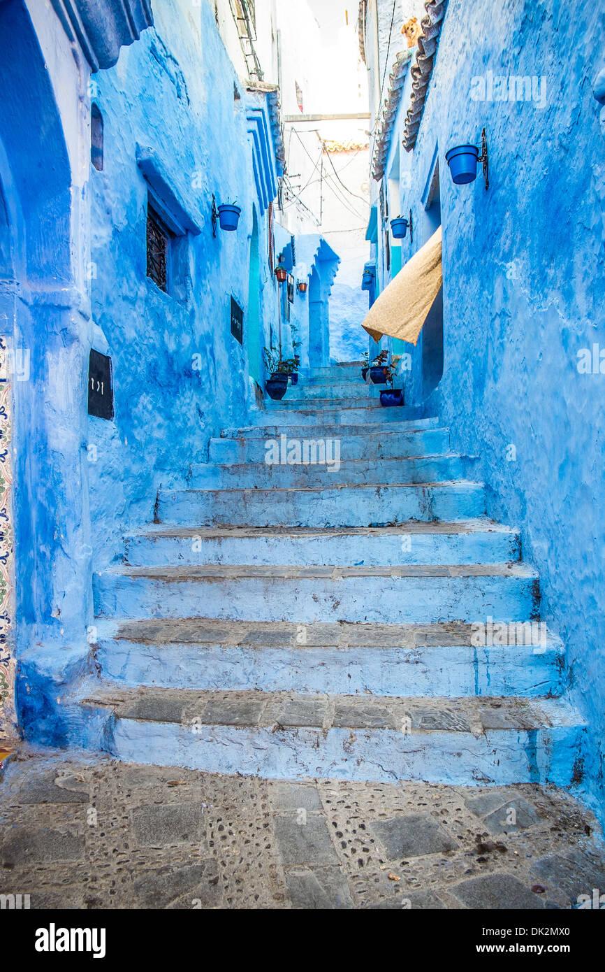 El hermoso azul medina de Chefchaouen en Marruecos Imagen De Stock