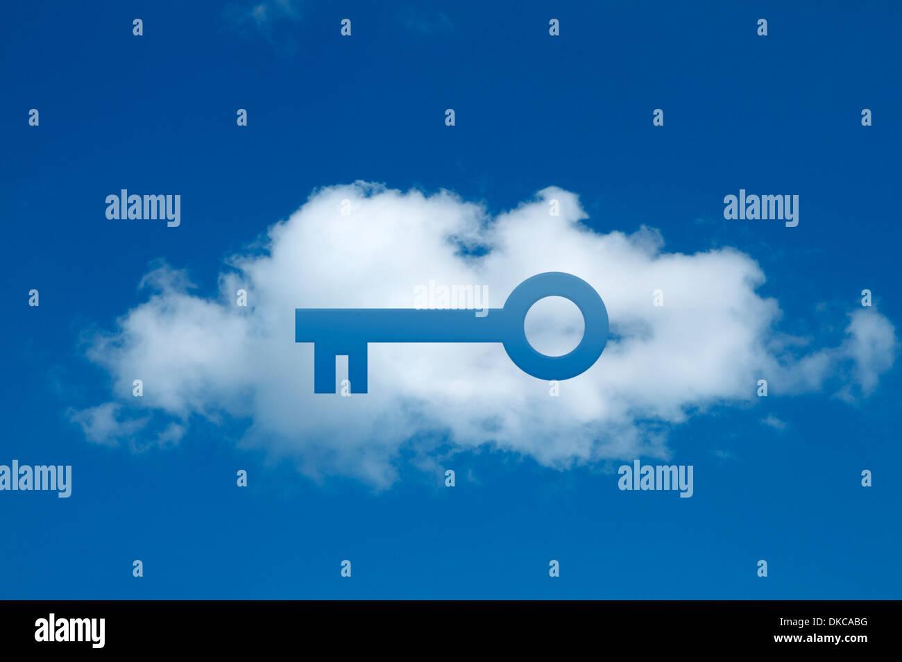 Compuesta Digital de nube con forma de llave cortada, compromiso cloud segura Imagen De Stock