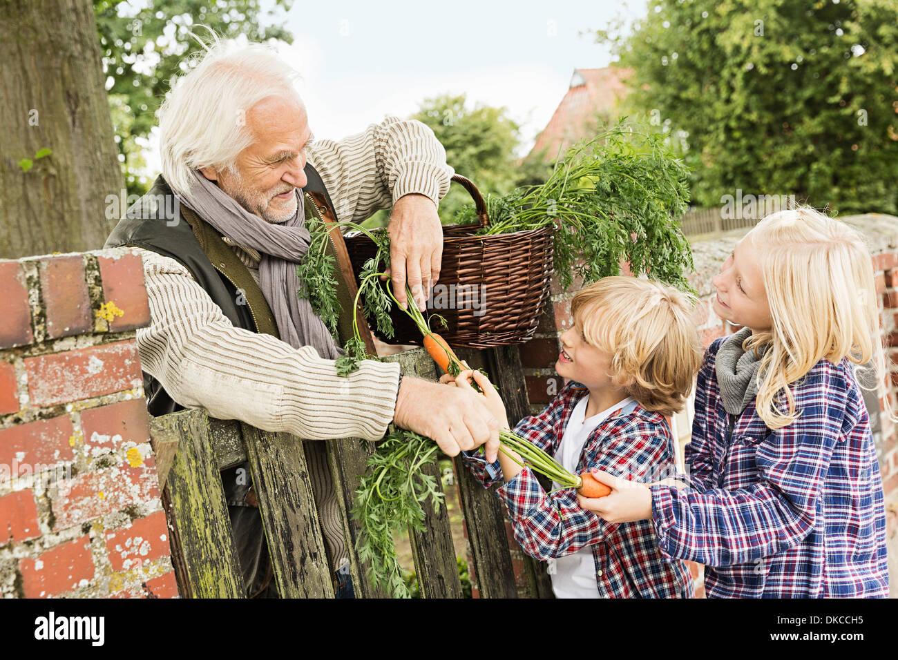Abuelo y nietos por puerta con zanahorias Imagen De Stock