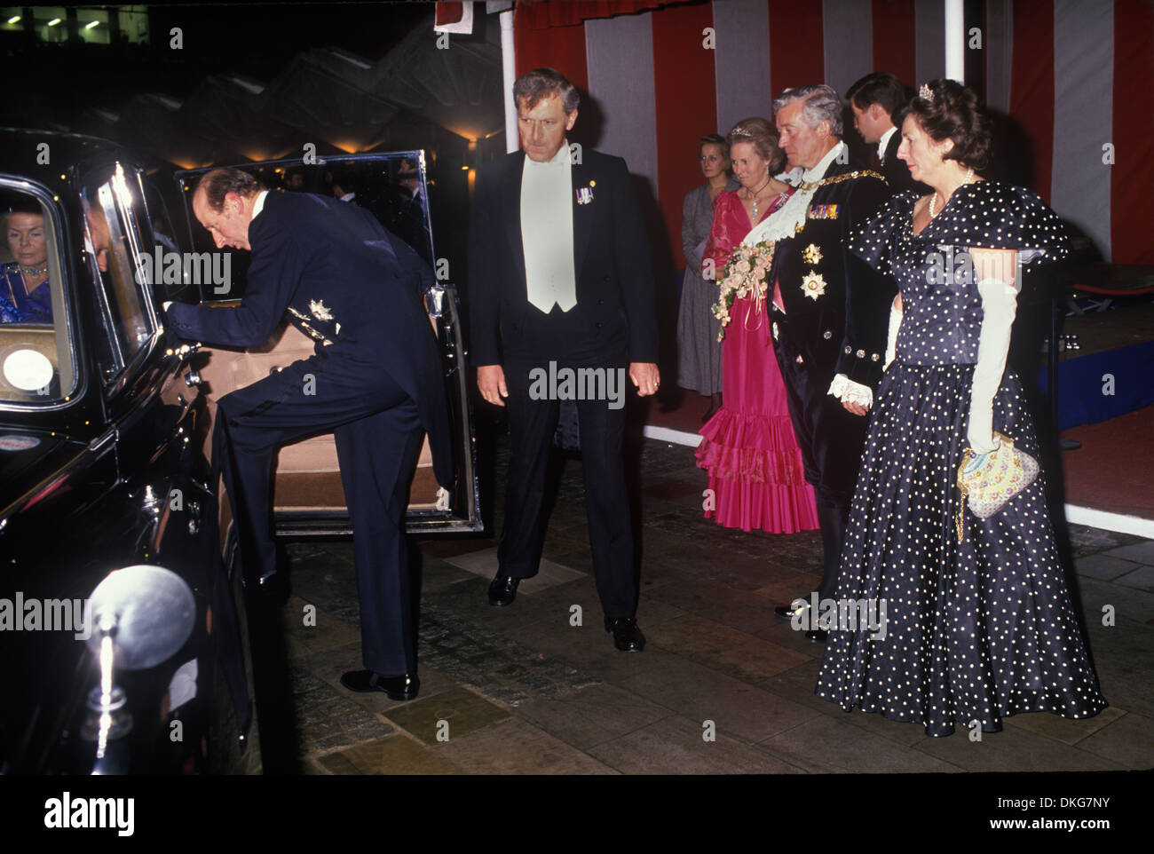 El duque y la duquesa de Kent, dejando al señor alcalde de London Guildhall recepción 1990 el señor alcalde Sir Alexander Graham y la señora alcaldesa Carolyn Graham London UK HOMER SYKES Imagen De Stock