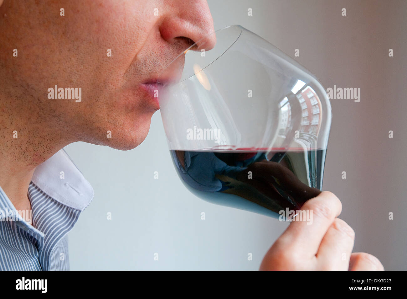 Catador beber un vaso de vino tinto. Cerrar vista. Foto de stock