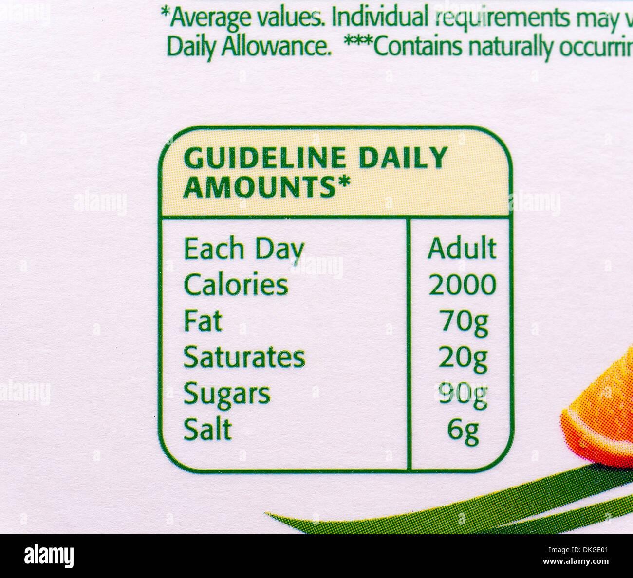 Diario de adultos pautas de calorías, grasas, azúcares, sal satura,como se muestra en un cartón de zumo de naranja. Imagen De Stock