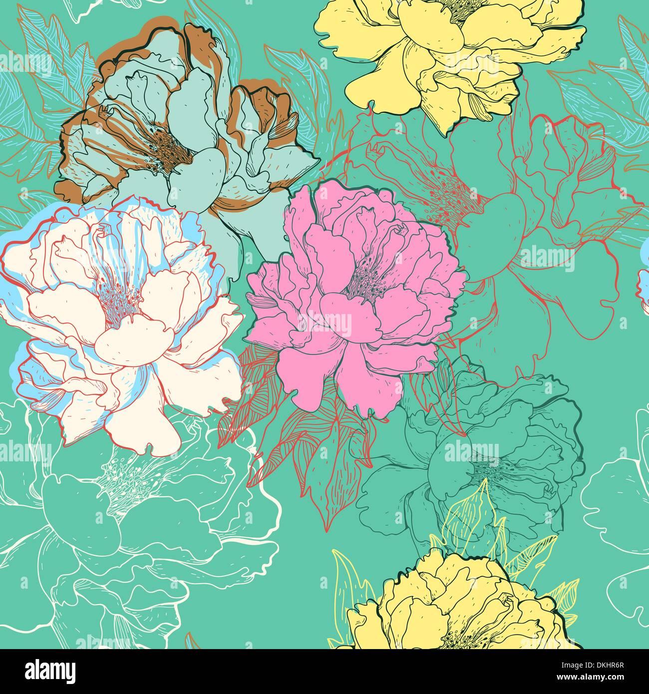 Vector floral patrón sin fisuras con abstractas rosas flor Imagen De Stock