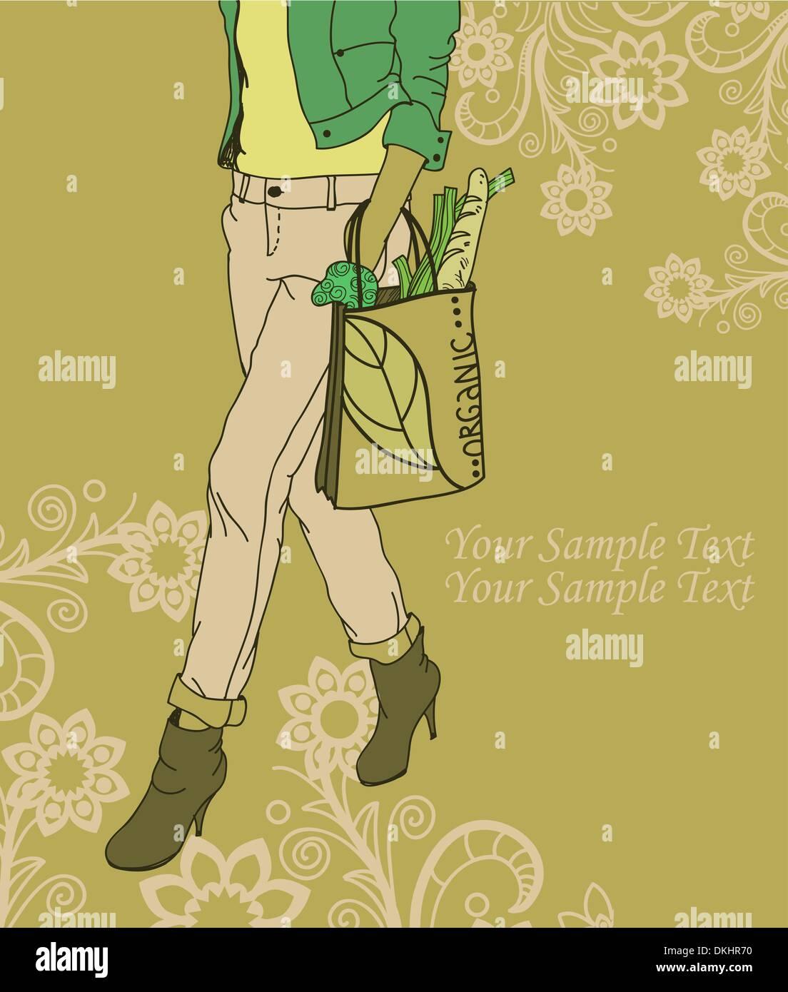 Chica de moda con una bolsa de productos orgánicos sobre un fondo floral Imagen De Stock