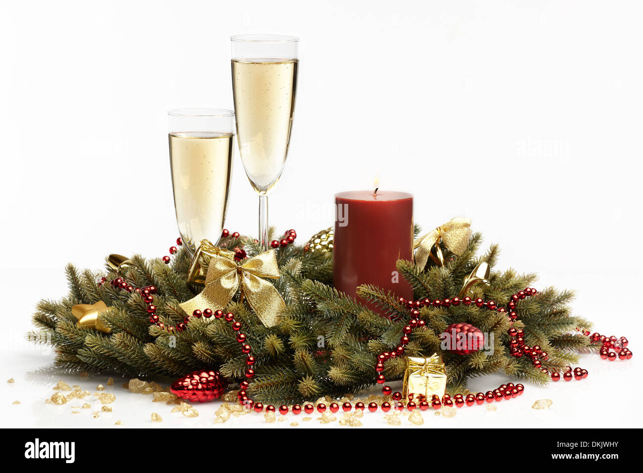 Two Glasses And Christmas Gift Isolated On White Background Imágenes ...