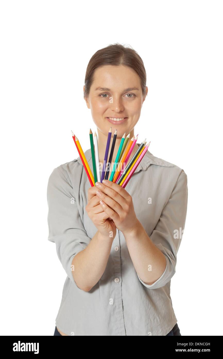 Mujer elegir el lápiz de color Imagen De Stock