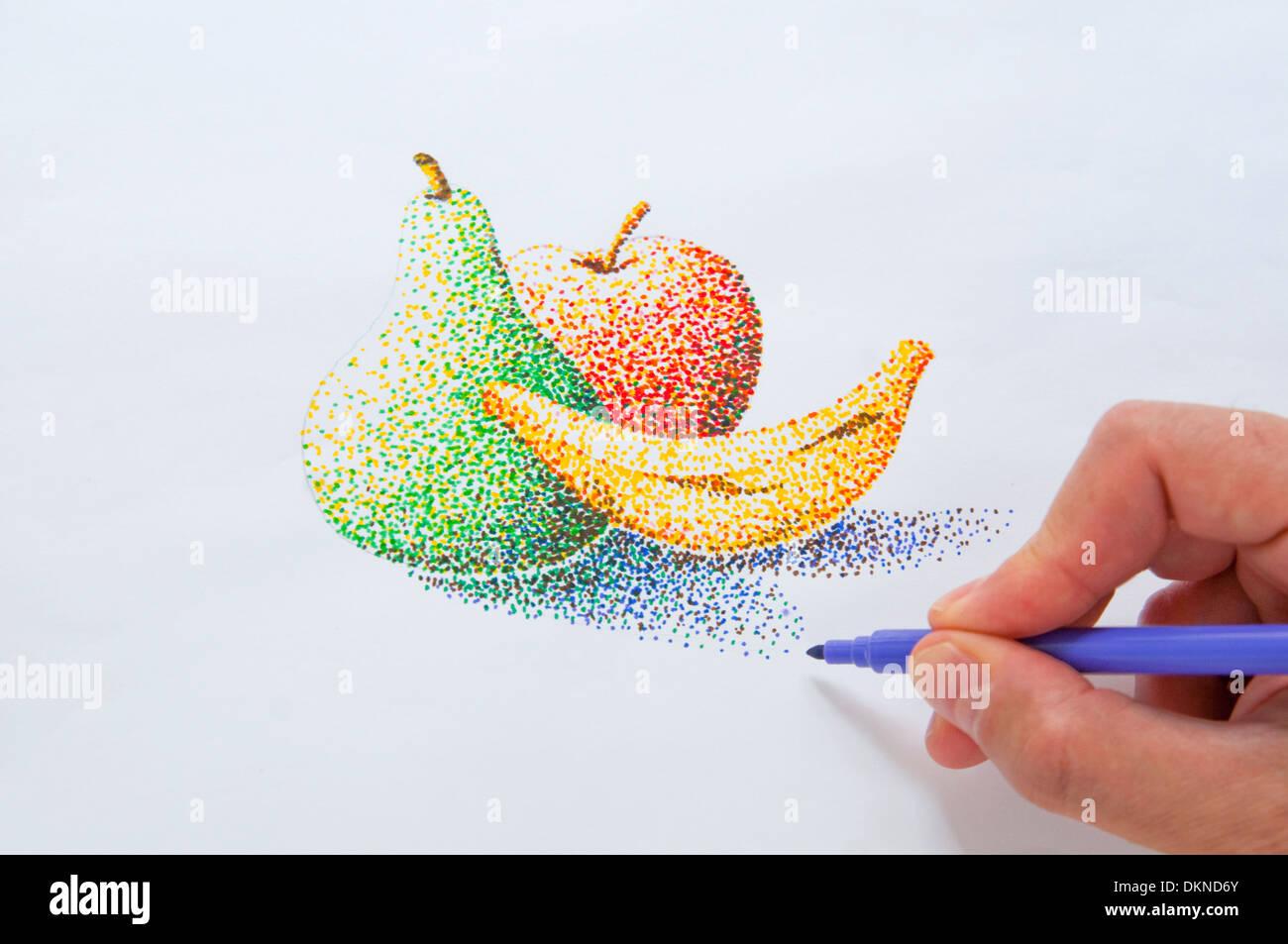 La mano del hombre haciendo un dibujo pointillism con marcadores de color. Cerrar vista. Imagen De Stock