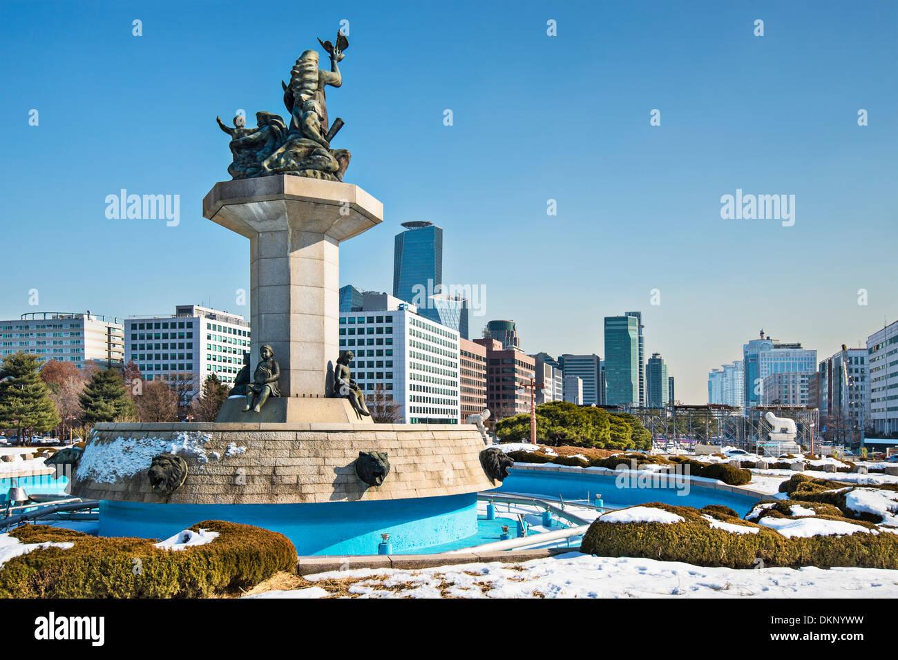 Seúl, Corea del Sur paisaje urbano desde el edificio del Parlamento. Imagen De Stock