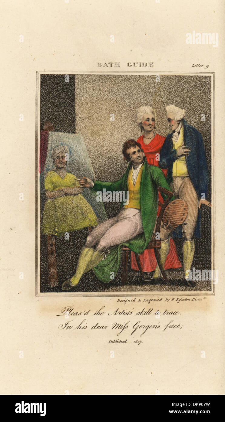 Moda Mujer admirando su retrato en Regency baño. Imagen De Stock